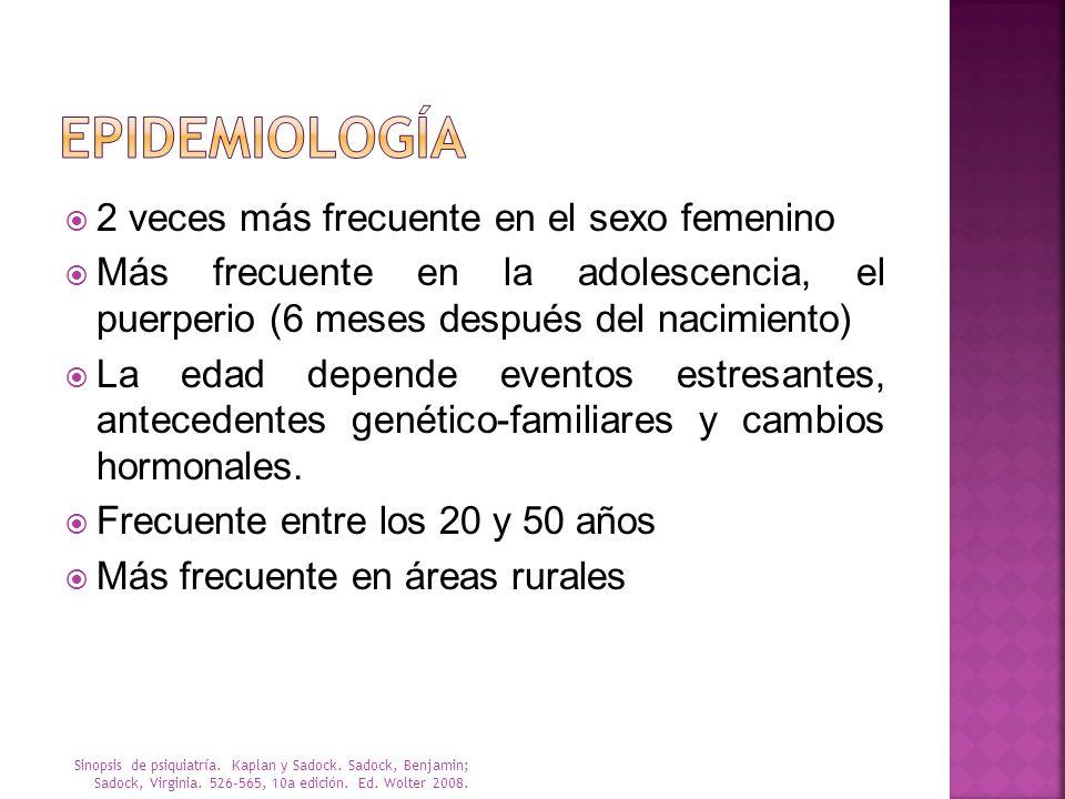 2 veces más frecuente en el sexo femenino Más frecuente en la adolescencia, el puerperio (6 meses después del nacimiento) La edad depende eventos estr
