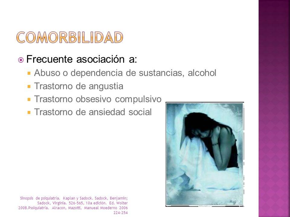 Frecuente asociación a: Abuso o dependencia de sustancias, alcohol Trastorno de angustia Trastorno obsesivo compulsivo Trastorno de ansiedad social Si