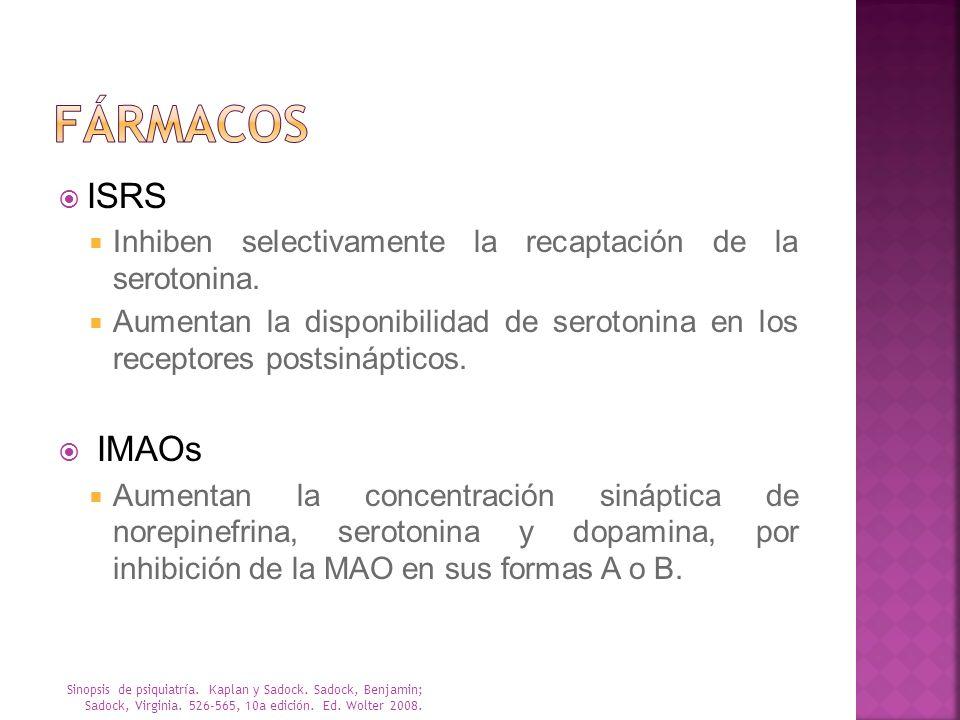 ISRS Inhiben selectivamente la recaptación de la serotonina. Aumentan la disponibilidad de serotonina en los receptores postsinápticos. IMAOs Aumentan