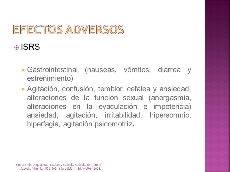 ISRS Gastrointestinal (nauseas, vómitos, diarrea y estreñimiento) Agitación, confusión, temblor, cefalea y ansiedad, alteraciones de la función sexual