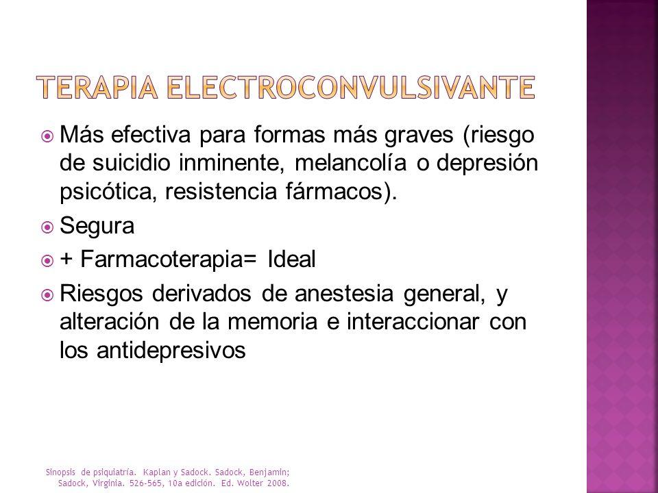 Más efectiva para formas más graves (riesgo de suicidio inminente, melancolía o depresión psicótica, resistencia fármacos). Segura + Farmacoterapia= I