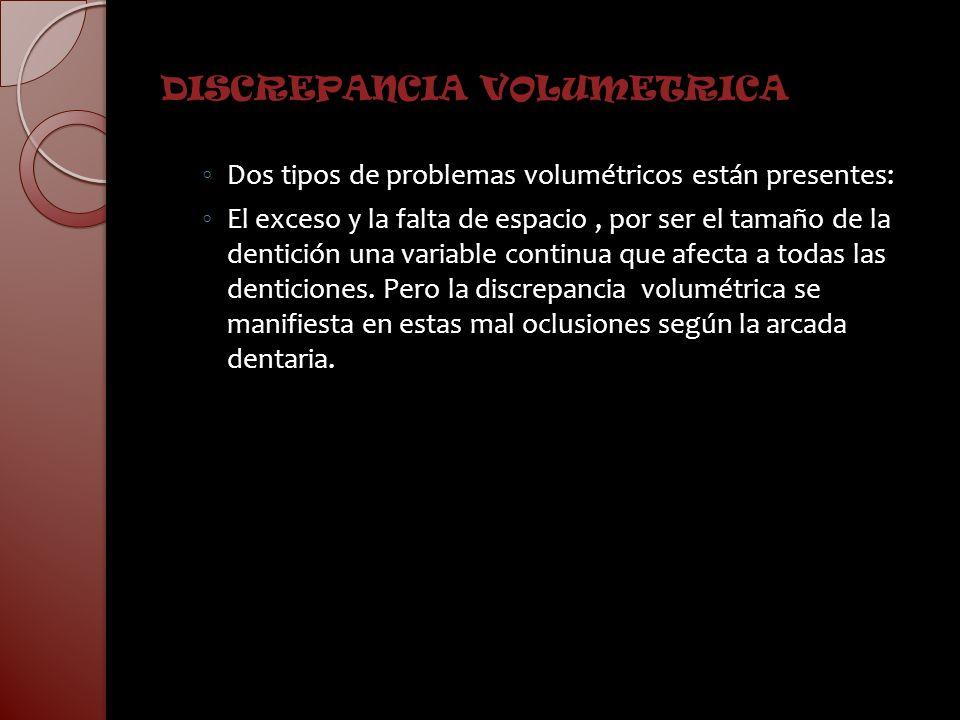 DISCREPANCIA VOLUMETRICA Dos tipos de problemas volumétricos están presentes: El exceso y la falta de espacio, por ser el tamaño de la dentición una v