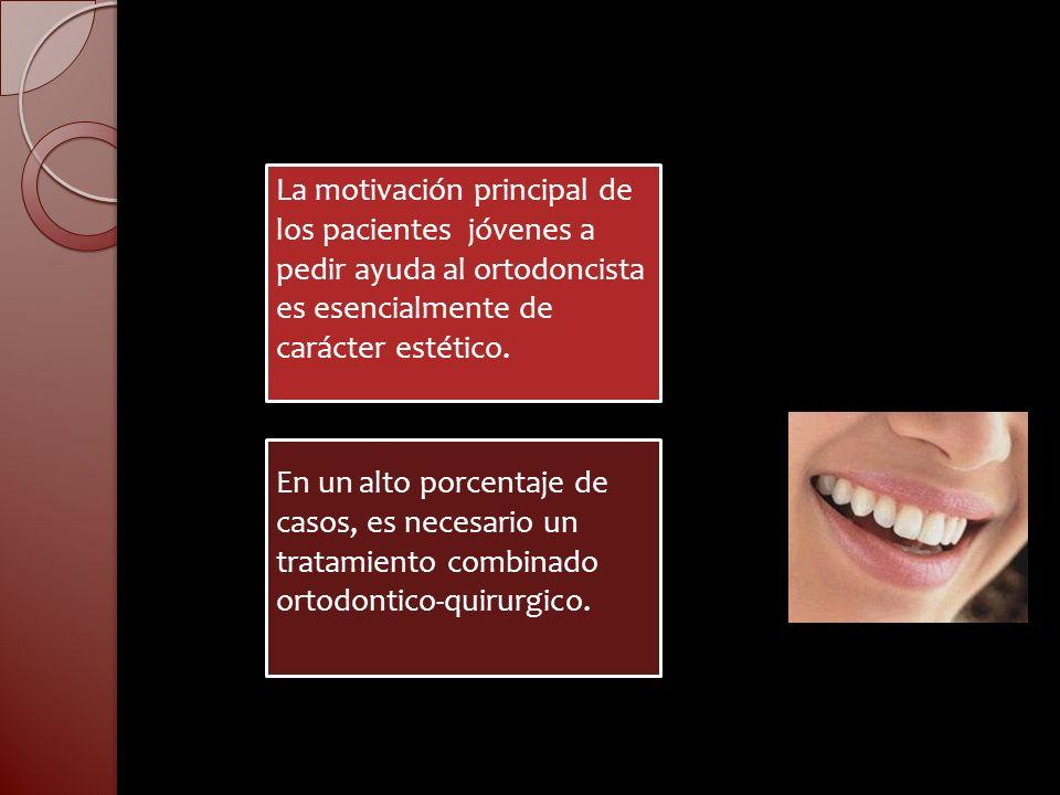 La motivación principal de los pacientes jóvenes a pedir ayuda al ortodoncista es esencialmente de carácter estético. En un alto porcentaje de casos,