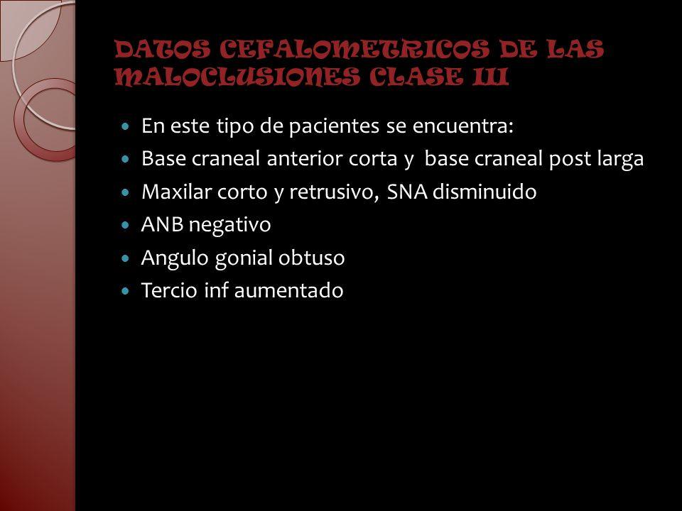 DATOS CEFALOMETRICOS DE LAS MALOCLUSIONES CLASE III En este tipo de pacientes se encuentra: Base craneal anterior corta y base craneal post larga Maxi