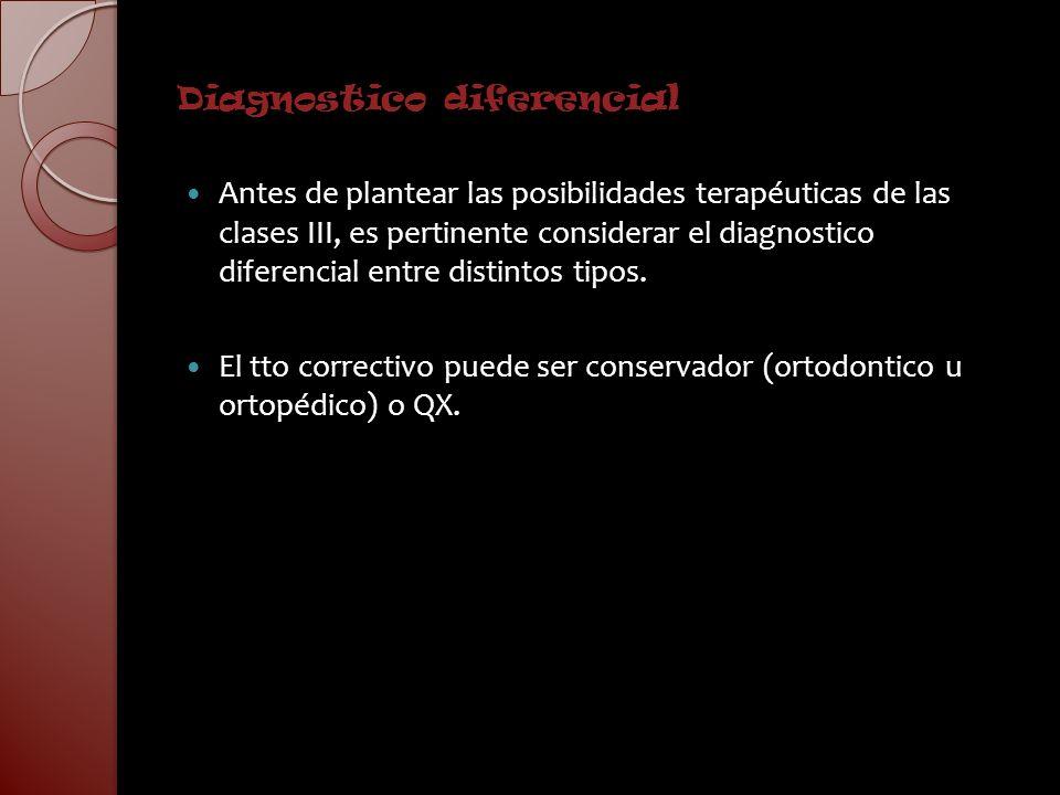Diagnostico diferencial Antes de plantear las posibilidades terapéuticas de las clases III, es pertinente considerar el diagnostico diferencial entre