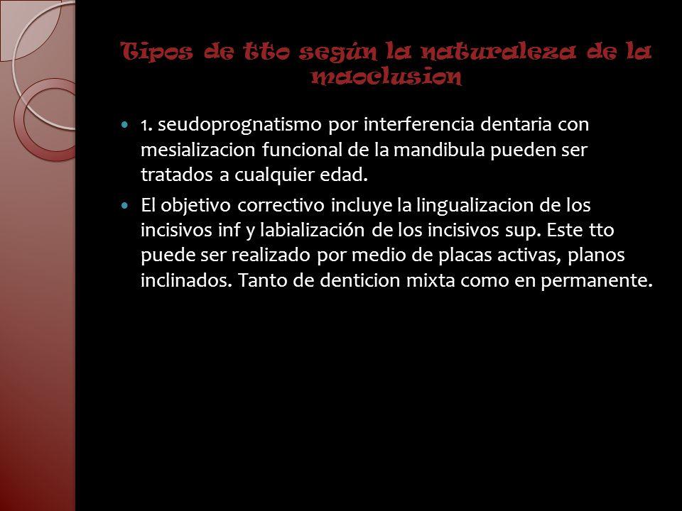 Tipos de tto según la naturaleza de la maoclusion 1. seudoprognatismo por interferencia dentaria con mesializacion funcional de la mandibula pueden se