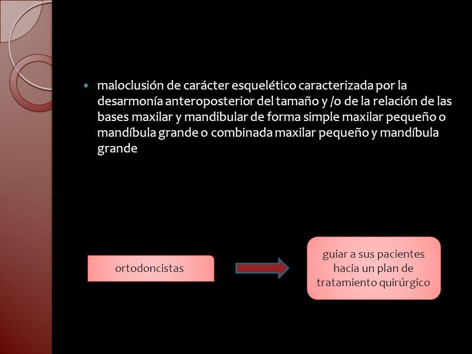 maloclusión de carácter esquelético caracterizada por la desarmonía anteroposterior del tamaño y /o de la relación de las bases maxilar y mandibular d