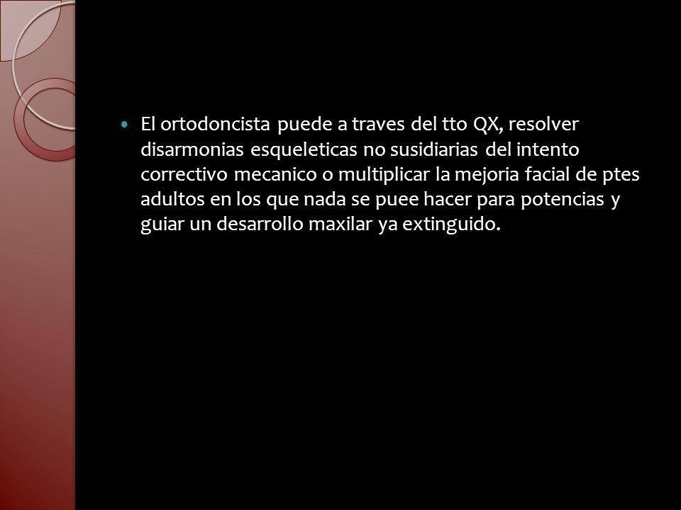 El ortodoncista puede a traves del tto QX, resolver disarmonias esqueleticas no susidiarias del intento correctivo mecanico o multiplicar la mejoria f