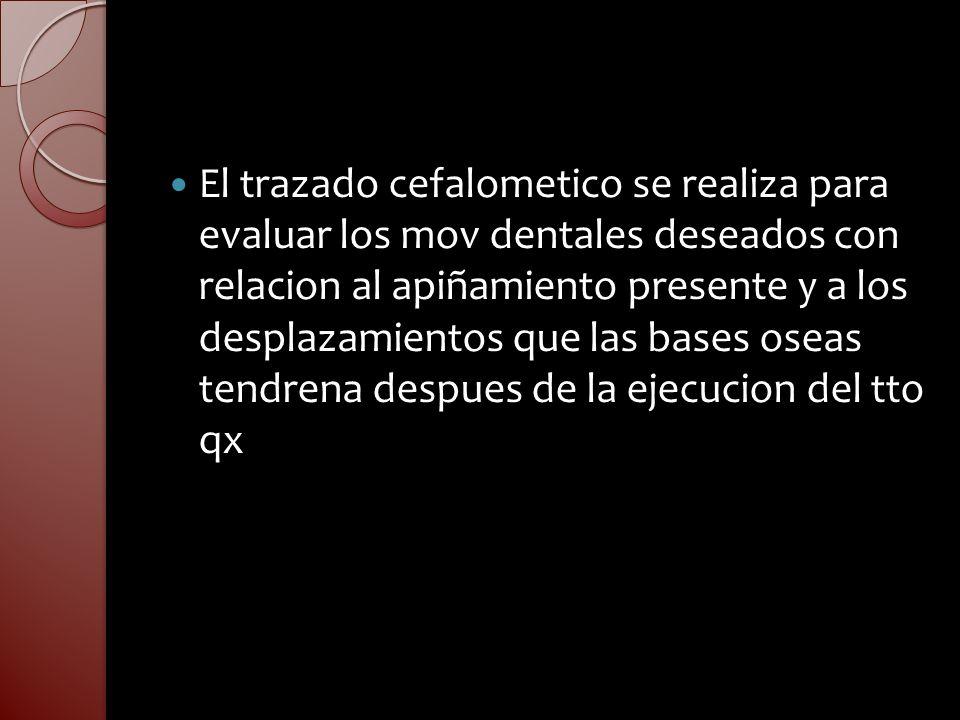 El trazado cefalometico se realiza para evaluar los mov dentales deseados con relacion al apiñamiento presente y a los desplazamientos que las bases o