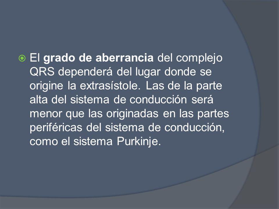 El grado de aberrancia del complejo QRS dependerá del lugar donde se origine la extrasístole. Las de la parte alta del sistema de conducción será meno