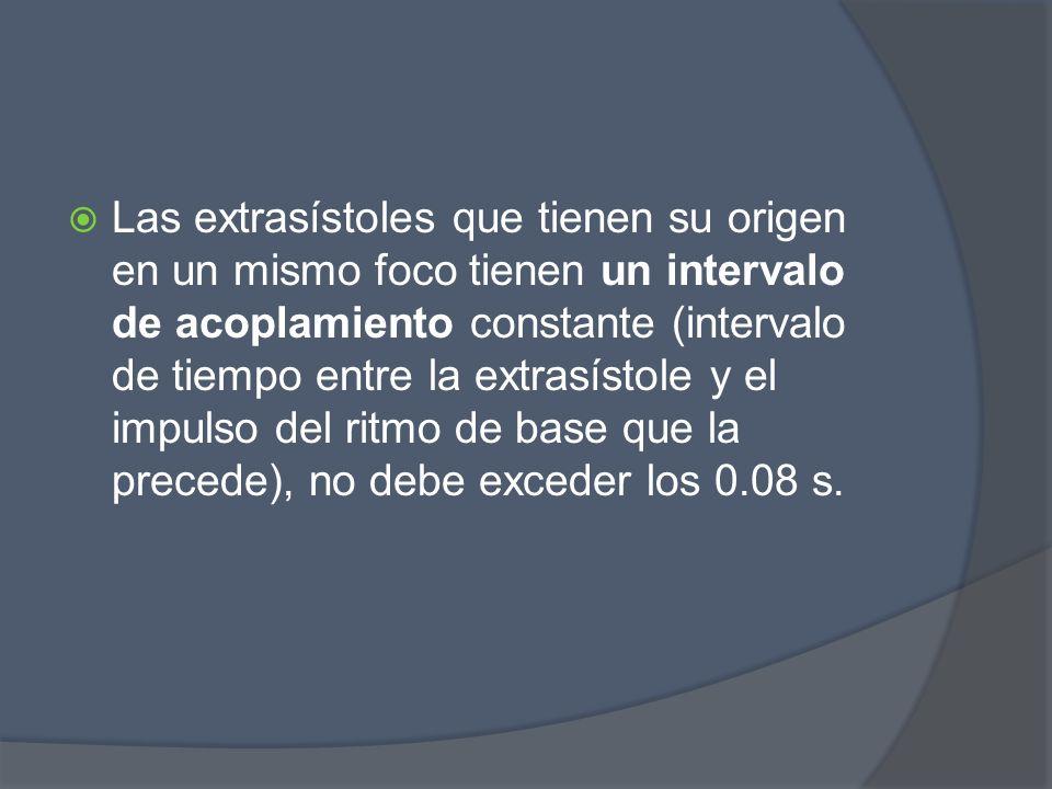 Las extrasístoles que tienen su origen en un mismo foco tienen un intervalo de acoplamiento constante (intervalo de tiempo entre la extrasístole y el