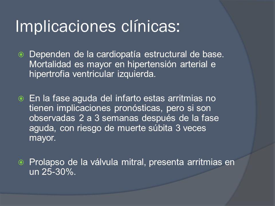 Implicaciones clínicas: Dependen de la cardiopatía estructural de base. Mortalidad es mayor en hipertensión arterial e hipertrofia ventricular izquier