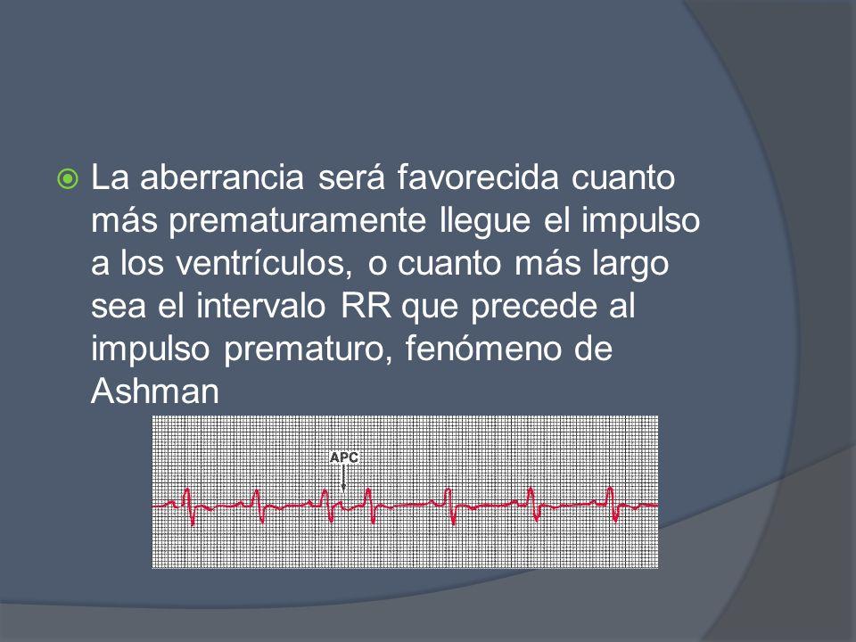 La aberrancia será favorecida cuanto más prematuramente llegue el impulso a los ventrículos, o cuanto más largo sea el intervalo RR que precede al imp