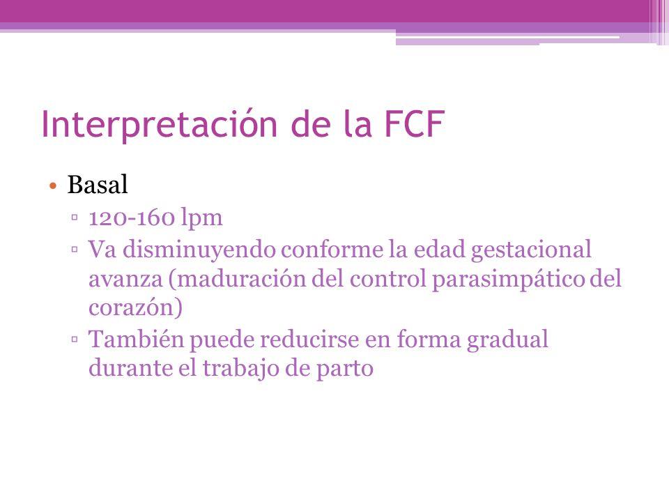 Interpretación de la FCF Basal 120-160 lpm Va disminuyendo conforme la edad gestacional avanza (maduración del control parasimpático del corazón) Tamb