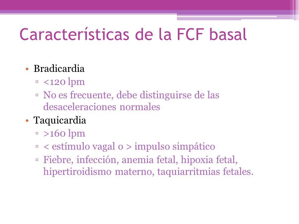 Bradicardia <120 lpm No es frecuente, debe distinguirse de las desaceleraciones normales Taquicardia >160 lpm impulso simpático Fiebre, infección, ane