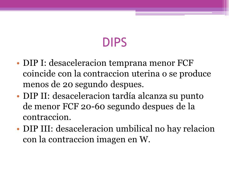 DIPS DIP I: desaceleracion temprana menor FCF coincide con la contraccion uterina o se produce menos de 20 segundo despues. DIP II: desaceleracion tar