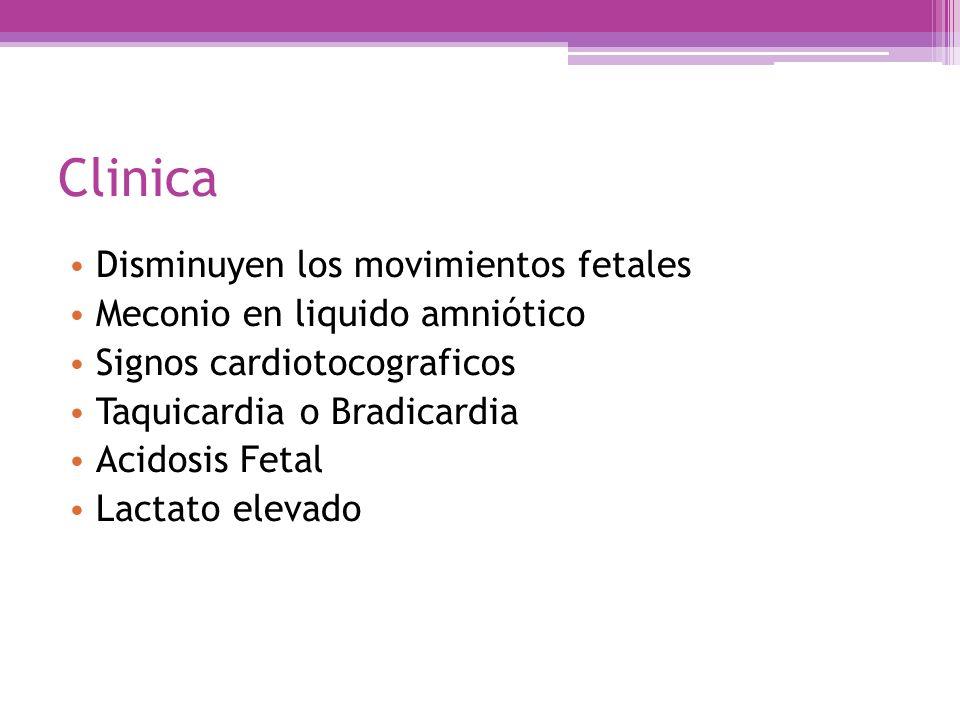 Clinica Disminuyen los movimientos fetales Meconio en liquido amniótico Signos cardiotocograficos Taquicardia o Bradicardia Acidosis Fetal Lactato ele