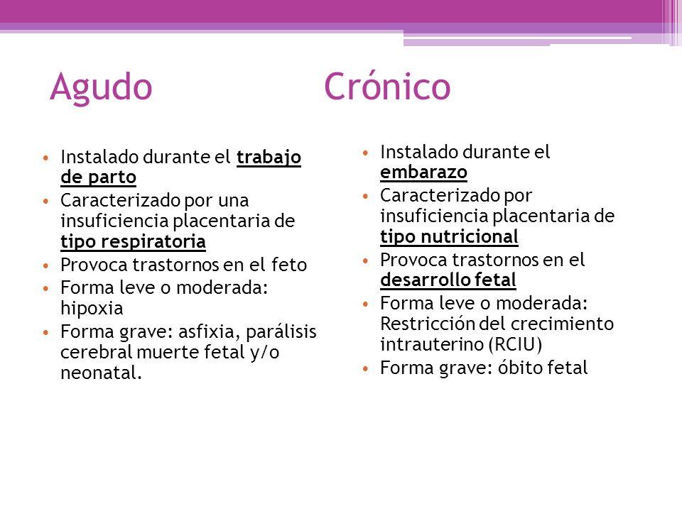 Agudo Crónico Instalado durante el trabajo de parto Caracterizado por una insuficiencia placentaria de tipo respiratoria Provoca trastornos en el feto