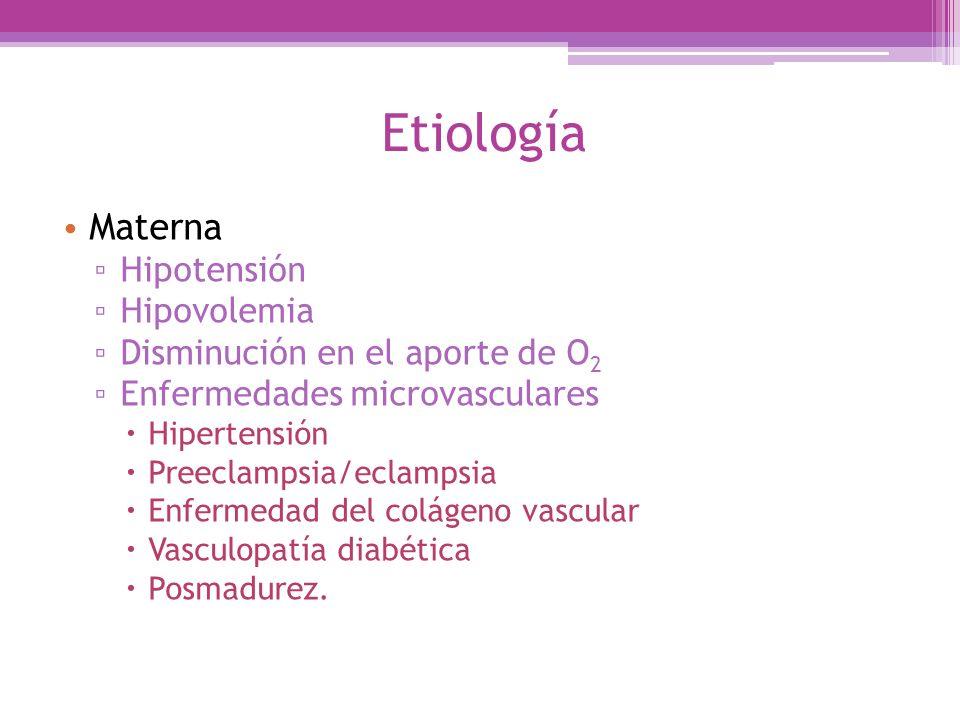 Etiología Materna Hipotensión Hipovolemia Disminución en el aporte de O 2 Enfermedades microvasculares Hipertensión Preeclampsia/eclampsia Enfermedad