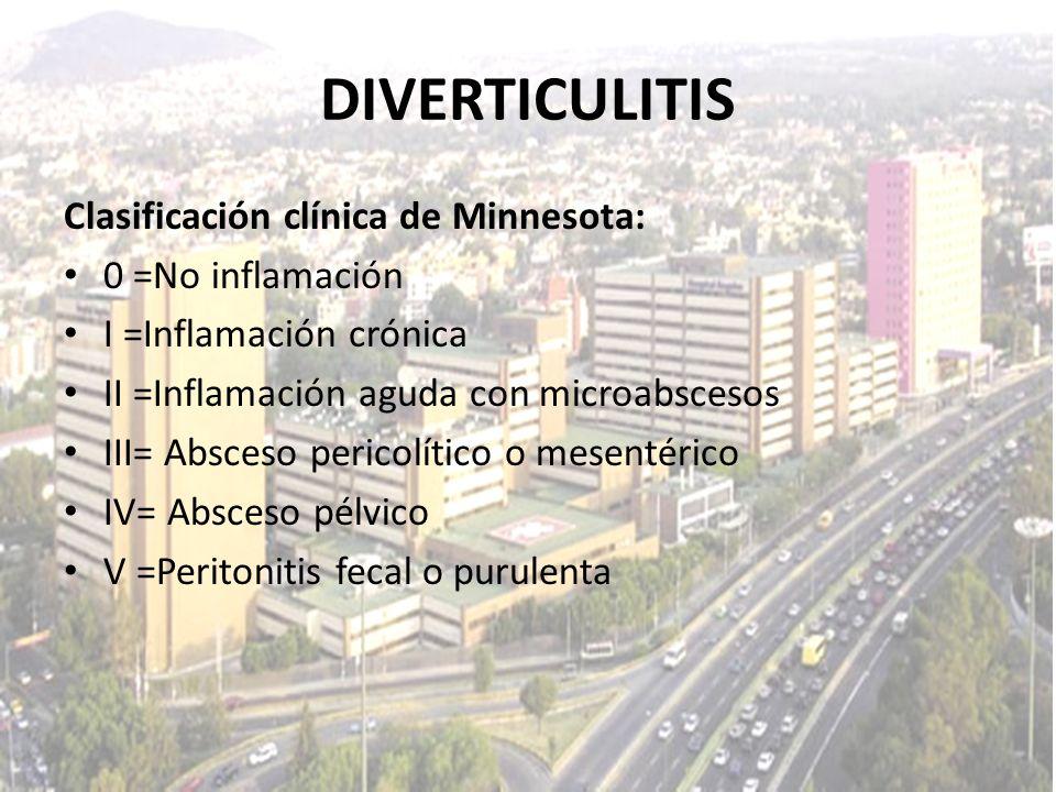 DIVERTICULITIS Clasificación clínica de Minnesota: 0 =No inflamación I =Inflamación crónica II =Inflamación aguda con microabscesos III= Absceso peric