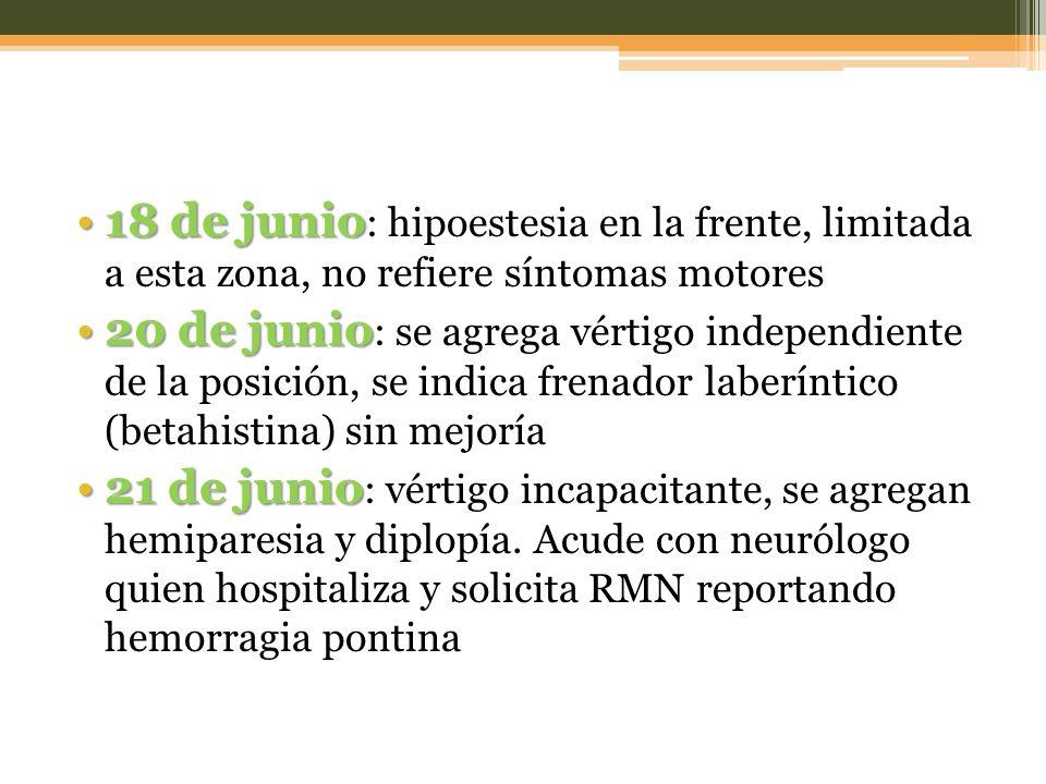 29 de junio29 de junio : Ingresa al HAP por el servicio de urgencias, enviado por su médico.
