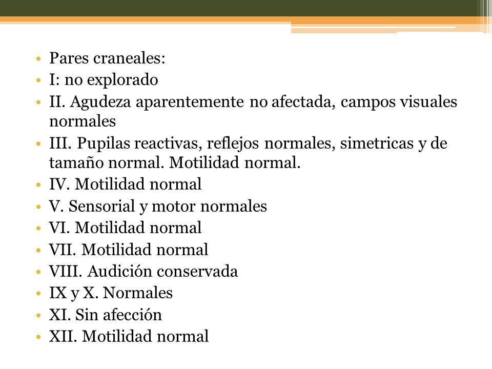 Pares craneales: I: no explorado II.