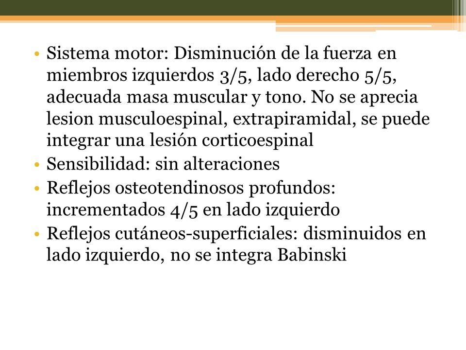 Sistema motor: Disminución de la fuerza en miembros izquierdos 3/5, lado derecho 5/5, adecuada masa muscular y tono.