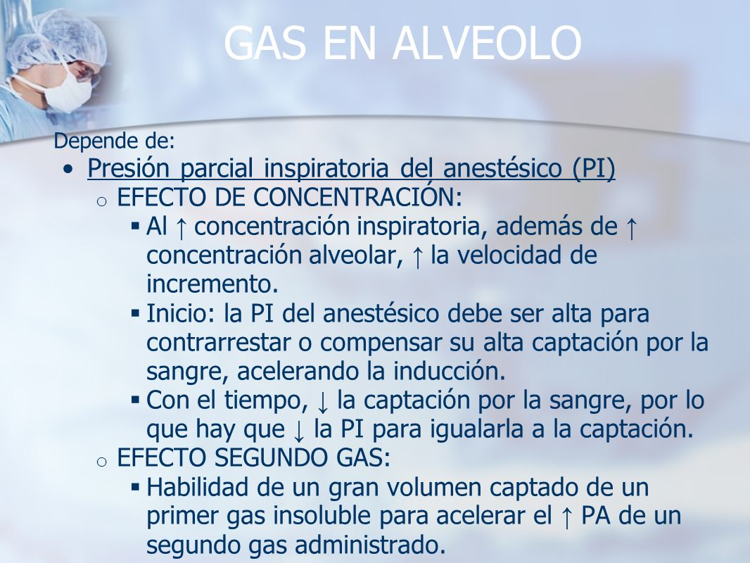 GAS EN ALVEOLO Depende de: Presión parcial inspiratoria del anestésico (PI) o EFECTO DE CONCENTRACIÓN: Al concentración inspiratoria, además de concen