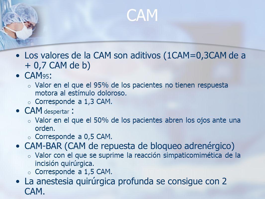 CAM Los valores de la CAM son aditivos (1CAM=0,3CAM de a + 0,7 CAM de b) CAM 95 : o Valor en el que el 95% de los pacientes no tienen respuesta motora