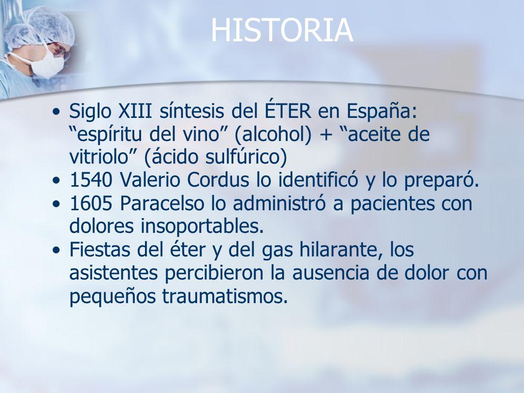 HISTORIA Siglo XIII síntesis del ÉTER en España: espíritu del vino (alcohol) + aceite de vitriolo (ácido sulfúrico) 1540 Valerio Cordus lo identificó
