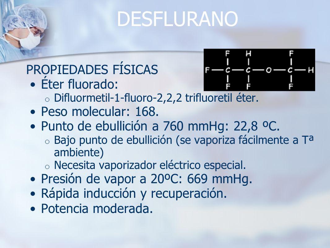 DESFLURANO PROPIEDADES FÍSICAS Éter fluorado: o Difluormetil-1-fluoro-2,2,2 trifluoretil éter. Peso molecular: 168. Punto de ebullición a 760 mmHg: 22