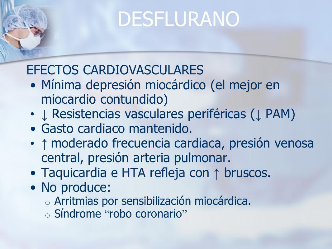 DESFLURANO EFECTOS CARDIOVASCULARES Mínima depresión miocárdico (el mejor en miocardio contundido) Resistencias vasculares periféricas ( PAM) Gasto ca