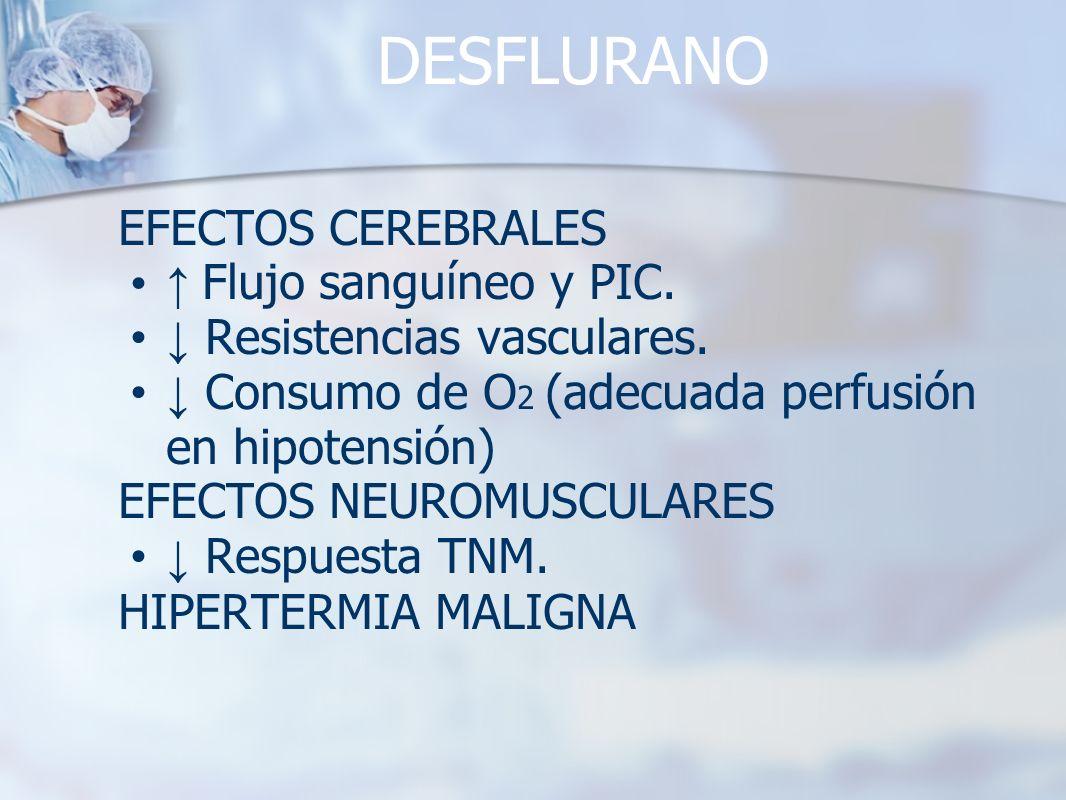 DESFLURANO EFECTOS CEREBRALES Flujo sanguíneo y PIC. Resistencias vasculares. Consumo de O 2 (adecuada perfusión en hipotensión) EFECTOS NEUROMUSCULAR