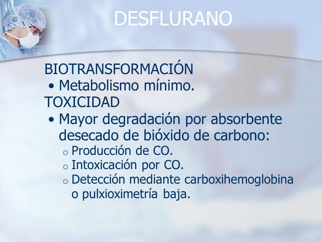 DESFLURANO BIOTRANSFORMACIÓN Metabolismo mínimo. TOXICIDAD Mayor degradación por absorbente desecado de bióxido de carbono: o Producción de CO. o Into