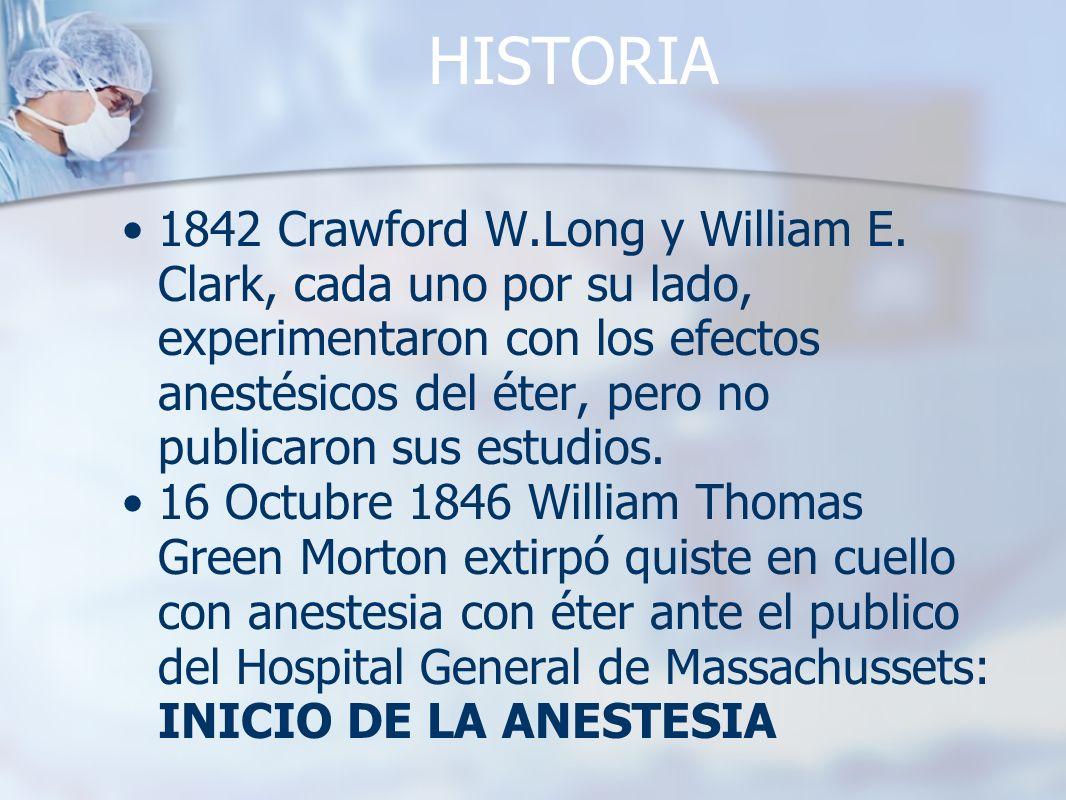HISTORIA 1842 Crawford W.Long y William E. Clark, cada uno por su lado, experimentaron con los efectos anestésicos del éter, pero no publicaron sus es