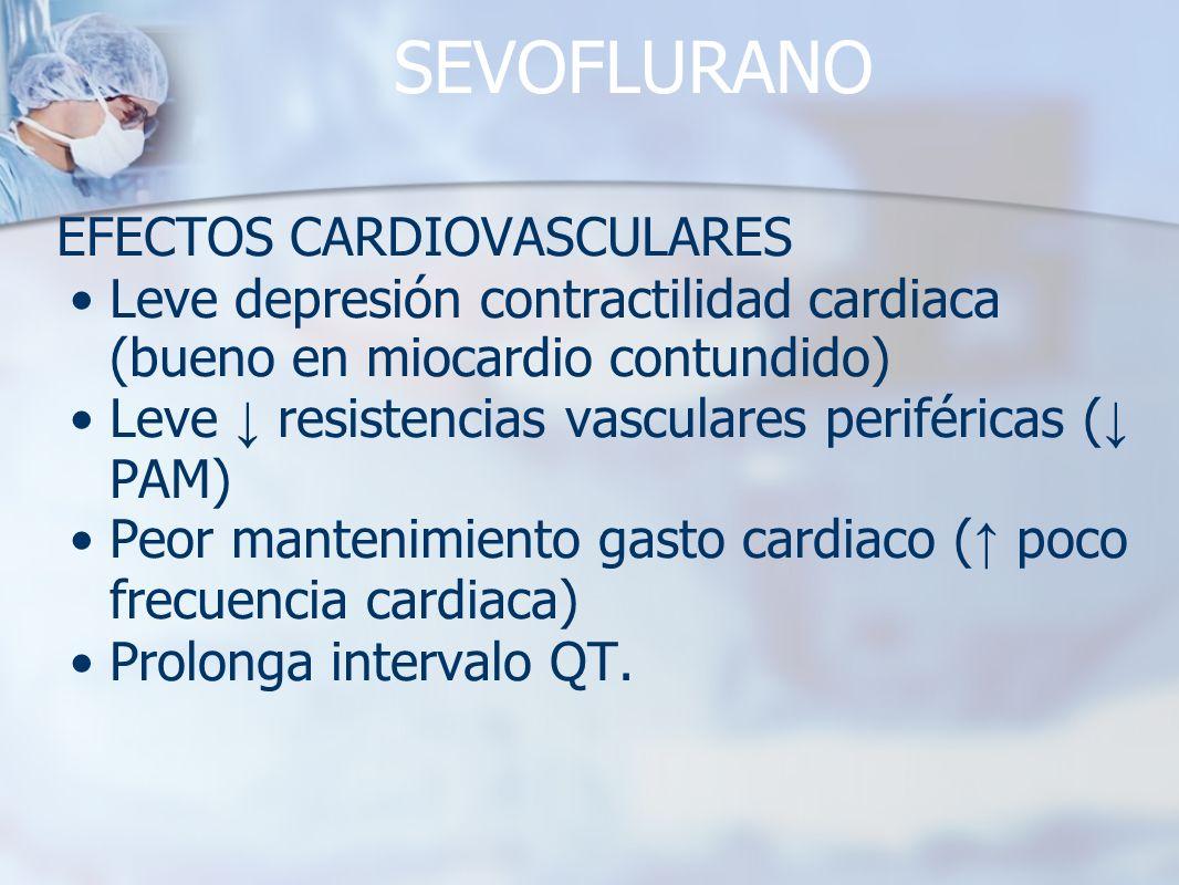 SEVOFLURANO EFECTOS CARDIOVASCULARES Leve depresión contractilidad cardiaca (bueno en miocardio contundido) Leve resistencias vasculares periféricas (