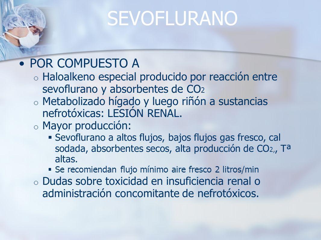 SEVOFLURANO POR COMPUESTO A o Haloalkeno especial producido por reacción entre sevoflurano y absorbentes de CO 2 o Metabolizado hígado y luego riñón a