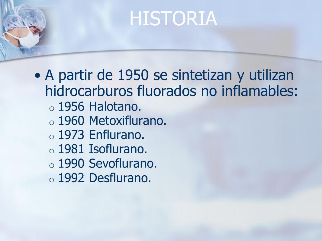 HISTORIA A partir de 1950 se sintetizan y utilizan hidrocarburos fluorados no inflamables: o 1956 Halotano. o 1960 Metoxiflurano. o 1973 Enflurano. o