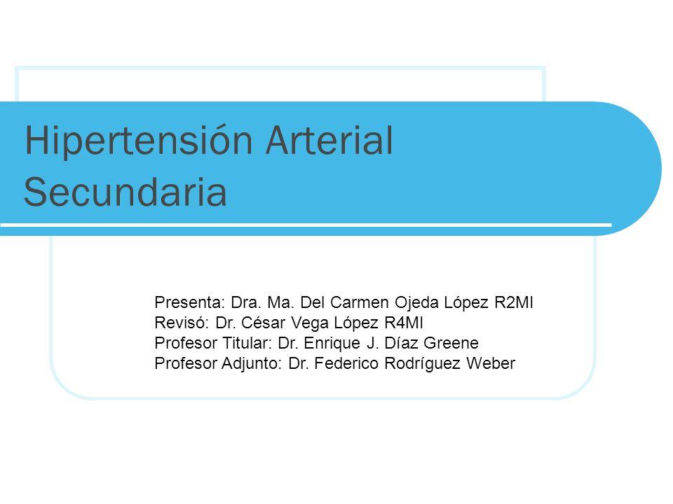 Hipertensión Arterial Secundaria Presenta: Dra. Ma. Del Carmen Ojeda López R2MI Revisó: Dr. César Vega López R4MI Profesor Titular: Dr. Enrique J. Día
