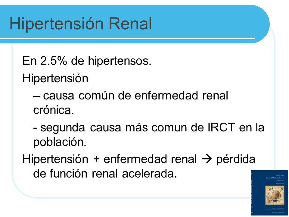 Hipertensión Renal En 2.5% de hipertensos. Hipertensión – causa común de enfermedad renal crónica. - segunda causa más comun de IRCT en la población.