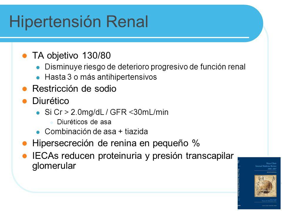 Hipertensión Renal TA objetivo 130/80 Disminuye riesgo de deterioro progresivo de función renal Hasta 3 o más antihipertensivos Restricción de sodio Diurético Si Cr > 2.0mg/dL / GFR <30mL/min Diuréticos de asa Combinación de asa + tiazida Hipersecreción de renina en pequeño % IECAs reducen proteinuria y presión transcapilar glomerular