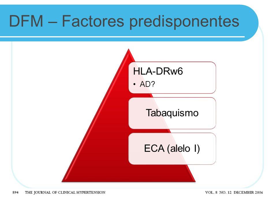 DFM – Factores predisponentes HLA-DRw6 AD? TabaquismoECA (alelo I)