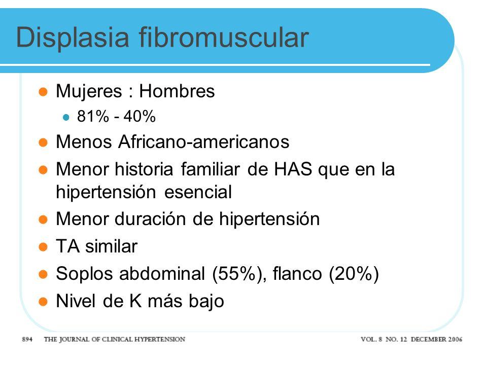 Displasia fibromuscular Mujeres : Hombres 81% - 40% Menos Africano-americanos Menor historia familiar de HAS que en la hipertensión esencial Menor duración de hipertensión TA similar Soplos abdominal (55%), flanco (20%) Nivel de K más bajo