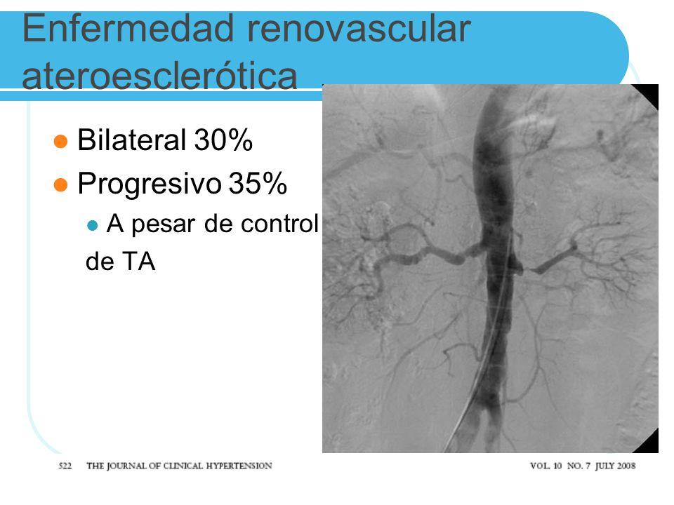 Enfermedad renovascular ateroesclerótica Bilateral 30% Progresivo 35% A pesar de control de TA