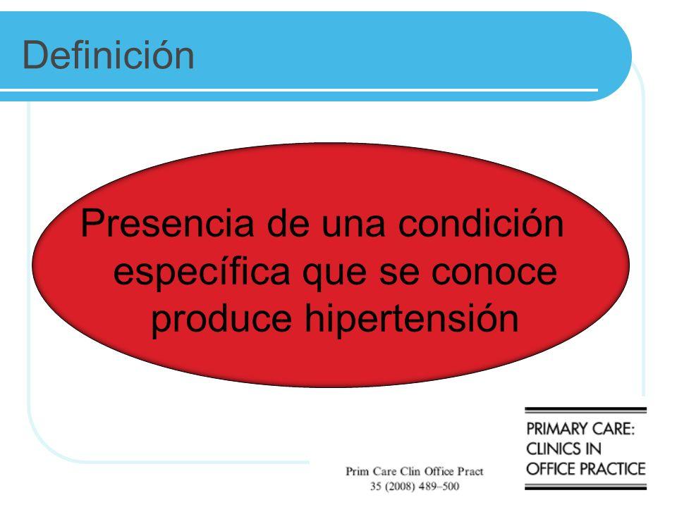 Definición Presencia de una condición específica que se conoce produce hipertensión