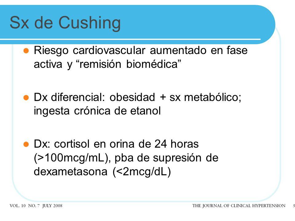 Sx de Cushing Riesgo cardiovascular aumentado en fase activa y remisión biomédica Dx diferencial: obesidad + sx metabólico; ingesta crónica de etanol Dx: cortisol en orina de 24 horas (>100mcg/mL), pba de supresión de dexametasona (<2mcg/dL)