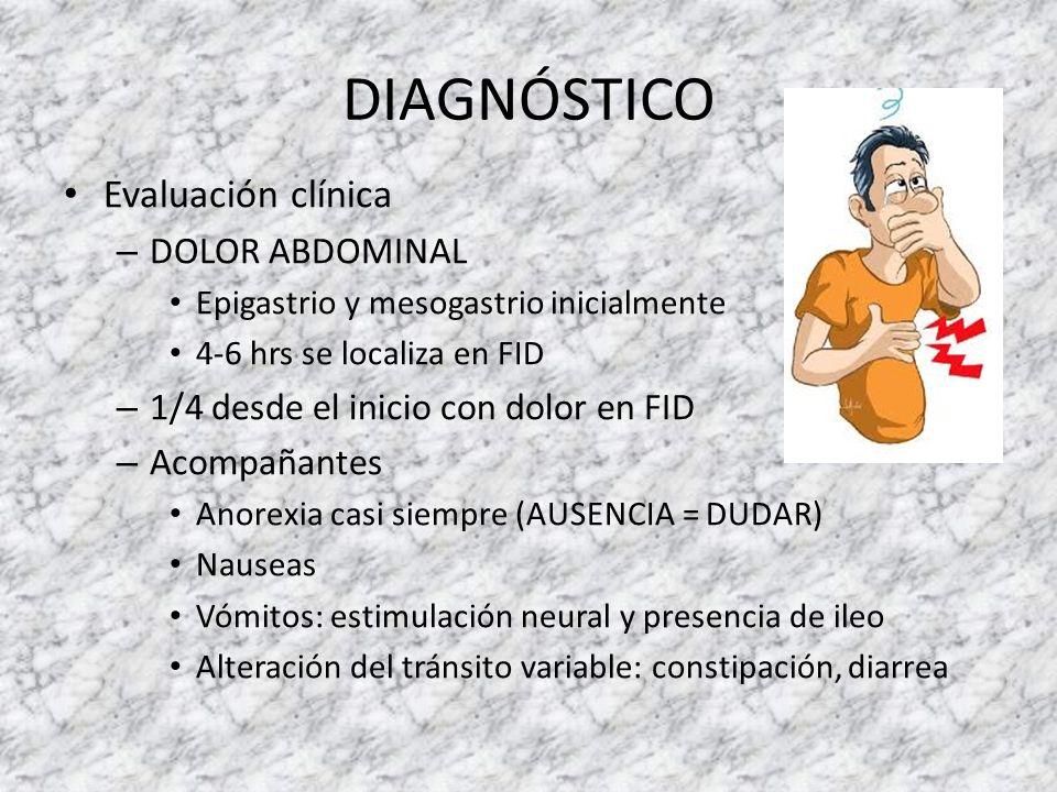 DIAGNÓSTICO Evaluación clínica – DOLOR ABDOMINAL Epigastrio y mesogastrio inicialmente 4-6 hrs se localiza en FID – 1/4 desde el inicio con dolor en F