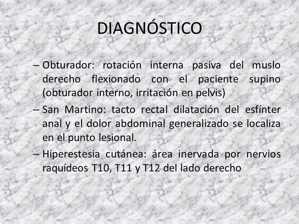 DIAGNÓSTICO – Obturador: rotación interna pasiva del muslo derecho flexionado con el paciente supino (obturador interno, irritación en pelvis) – San M