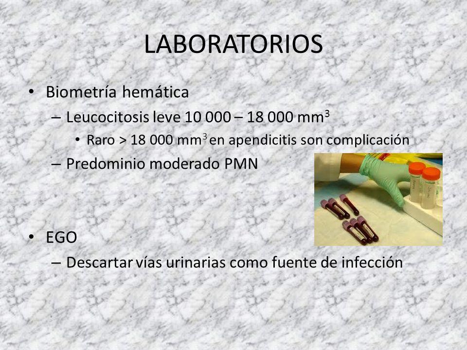 LABORATORIOS Biometría hemática – Leucocitosis leve 10 000 – 18 000 mm 3 Raro > 18 000 mm 3 en apendicitis son complicación – Predominio moderado PMN