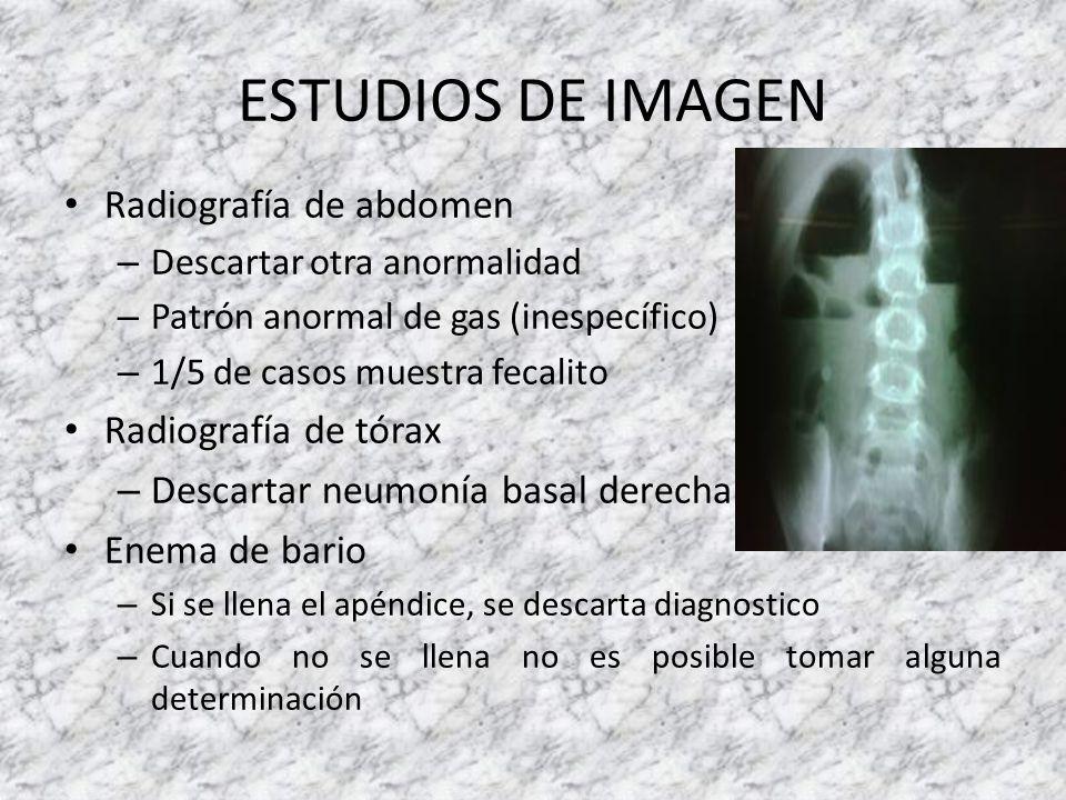 ESTUDIOS DE IMAGEN Radiografía de abdomen – Descartar otra anormalidad – Patrón anormal de gas (inespecífico) – 1/5 de casos muestra fecalito Radiogra